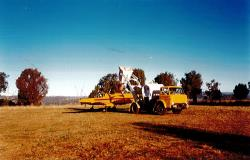 Aerial spreading of guano organic fertiliser in NSW in 2002.