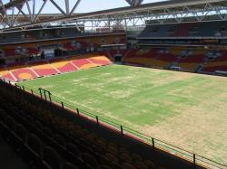 Suncorp Stadium in Brisbane prior to an Agrispon organic fertiliser program in 2005.