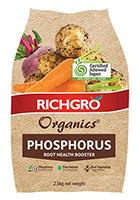 The new bag design for Richgro Organics Phosphorus fertilser, which is Guano Gold-Kwik Start packaged for home gardening needs.